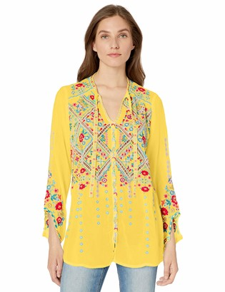 Johnny Was Women's Rayon Tie Neck 3/4 Sleeve Relaxed Embroidered Blouse