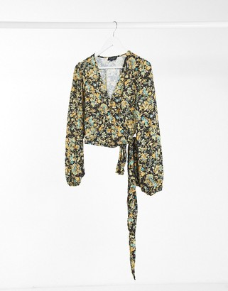 In The Style x Saffron Barker balloon sleeve wrap top in black paisley print