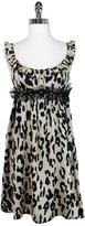 L.A.M.B. Black & Tan Silk Leopard Print Dress