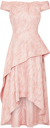 Adrianna Papell Textured Jacquard Draped Gown