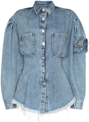 Natasha Zinko Corseted Frayed Hem Denim Shirt