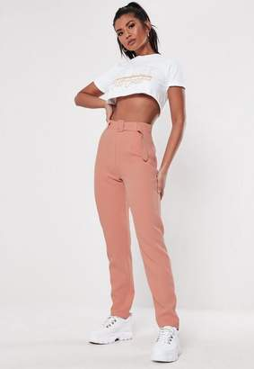 Missguided Tall Pink Belted Cigarette Pants