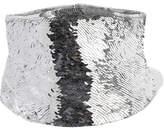 Oscar de la Renta Sequined Silk-satin Corset - Silver