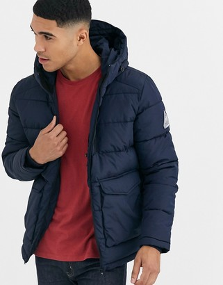 Jack and Jones Originals hooded puffer jacket with patch pockets in navy