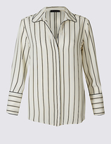 M&S Collection Striped Piping Detail Long Sleeve Shirt