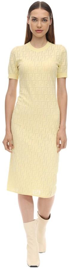 Fendi Logo Intarsia Cotton Knit Dress