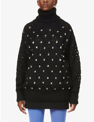 Junya Watanabe Stud-embellished turtleneck wool-, mohair- and alpaca-blend jumper