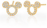 Disney Mickey Mouse Icon Silhouette Stud Earrings by CRISLU - Yellow Gold