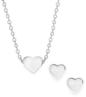 Rhona Sutton 4 Kids Children's Heart Pendant Necklace Stud Earrings Set in Sterling Silver