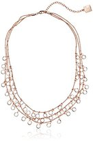 Anne Klein Three Row Shaky Necklace with 60 Clear Glass Crystals of 40cm