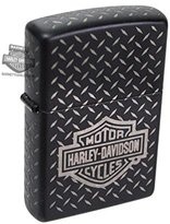 Zippo Harley-Davidson Mens B&S Diamond Plated Black Matte Lighter