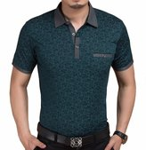 Port&Lotus Men's Contrast Color Short Sleeve Slim Fit Polo Shirt Green Large