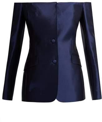 Gabriela Hearst Dorothea Off The Shoulder Silk Blend Blazer - Womens - Blue