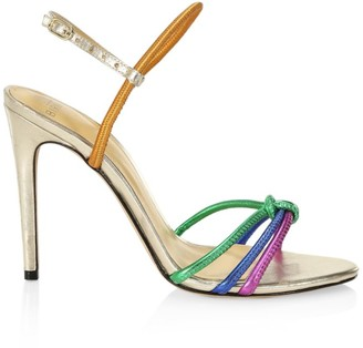 Alexandre Birman Rebecca Rainbow Leather Slingback Sandals