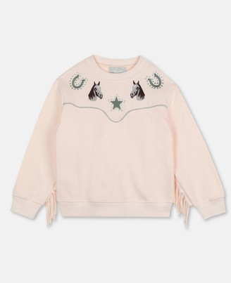 Stella Mccartney Kids Stella McCartney horses & fringes cotton sweatshirt