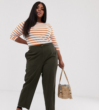 Asos DESIGN Curve casual trouser with straight leg and raw hem-Green