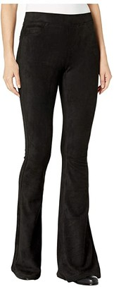 Blank NYC Faux Suede Pull-On Flare Pants (Black) Women's Casual Pants