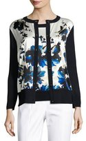 St. John Painted Oleandar 3/4-Sleeve Cardigan, Blue Pattern