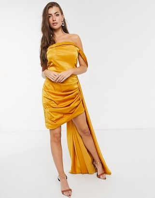 Yaura off shoulder fitted satin mini dress with drape in ochre