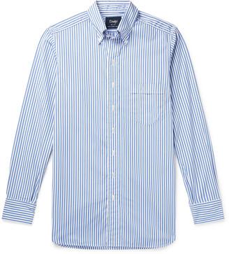 Drakes Button-Down Collar Striped Cotton-Poplin Shirt