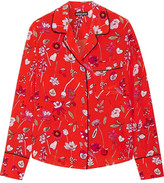 Markus Lupfer Printed Silk Crepe De Chine Shirt - Red