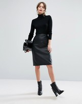 New Look Faux Leather Pencil Midi Skirt