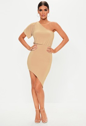 Missguided Stone Drape Shoulder Asymmetric Bodycon Midi Dress