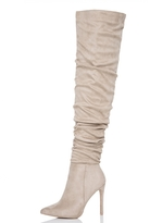 Quiz Nude Faux Suede Over The Knee Heeled Boots
