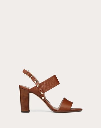 Valentino Grainy Leather Slingback Sandal 85 Mm Women Brown Calfskin 100% 36.5
