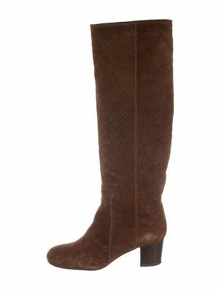 Lanvin Suede Round-Toe Knee-High Boots Brown