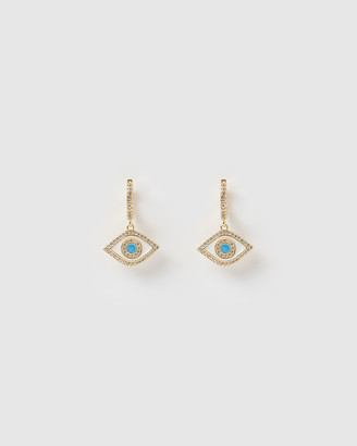 Izoa Evil Eye Huggie Earrings