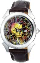 Ed Hardy Men's Revolution Skull RE-SK Leather Quartz Watch with Dial