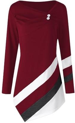 Toamen Women's Tops Toamen Tops Women's Plus Size Personality Fashion Striped Asymmtrical Long Sleeve Super Premium Loose Pullover Shirt Top T-Shirt Blouse Autumn New