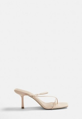 Missguided Nude Thin Strap Mid Heel Sandals