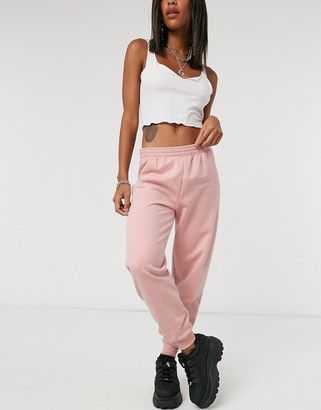 Topshop shirred waist track pants in pink