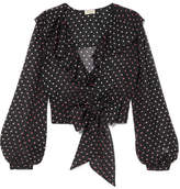 Temperley London Ruffled Polka-dot Silk-chiffon Blouse - Black
