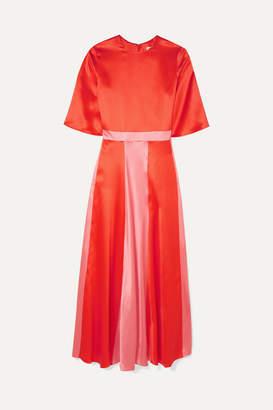 Deitas Julieta Two-tone Paneled Silk-satin Dress - Red
