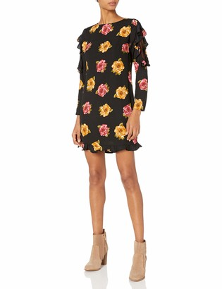 Nicole Miller Studio Women's Long Sleeve Shift with Lace Inset and Ruffle Detail