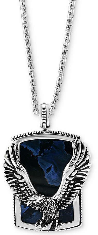 "Effy Men's Pietersite Eagle 22"" Pendant Necklace in Sterling Silver"