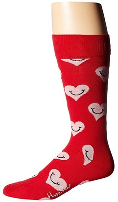 Happy Socks Smiley Heart Sock (Red/Pink) Men's Crew Cut Socks Shoes
