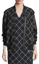 Rag & Bone Edith Windowpane Varsity Jacket, Black/White