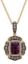 LeVian Raspberry Rhodolite, Vanilla and Chocolate Diamond 14K Strawberry Gold Pendant Necklace