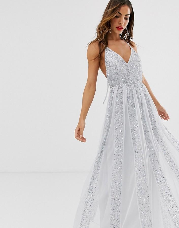 Asos DESIGN cami strap maxi dress in mesh with embellished sequin godet panels