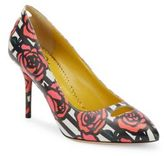 Charlotte Olympia Ada Striped Rose-Print Leather Pumps