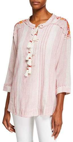 Johnny Was Jacques Lace-Front 3/4-Sleeve Tasseled Blouse