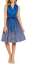 Anne Klein Sleeveless Polka Dot Printed Wrap Dress