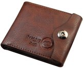 Generic Mens Leather Bifold Wallet Id Cards Holder Coin Pocket Bag Button Slim Purse