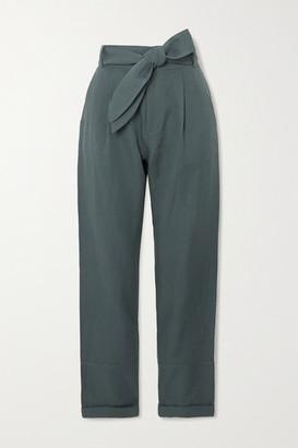 Apiece Apart Bendita Belted Linen And Cotton-blend Twill Straight-leg Pants - Gray