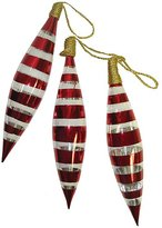 Season's Designs Seasons Designs Red Painted Glass Finial Christmas Ornaments, Set of 3