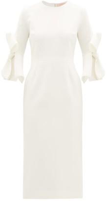 Roksanda Lavete Bow-sleeves Crepe Midi Dress - Womens - Ivory